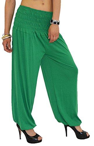 by-tex Pantalon Sarouel pour Femme Pantalon Pump Femme Pantalons Harem pour Dames Pantalon de Yoga S01 Vert