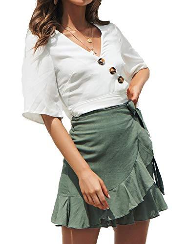 (Relipop Women's Stretchy Cotton High Waist Ruffle Wrap Tie Knot Fishtail Mini Skirt Green)