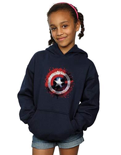 Marvel Girls Avengers Captain America Art Shield Hoodie Navy Blue 12-13 Years