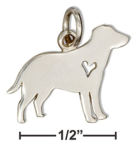 Cut Out Heart Charm (Sterling Silver Silhouette Labrador Retriever Charm with Cut-out Heart)