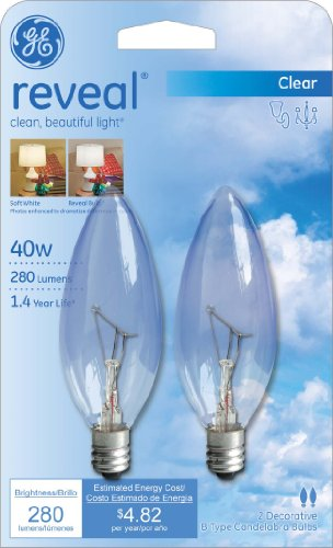 GE Lighting 48701 40-Watt Reveal Blunt Tip B10, 2-Pack - bedroomdesign.us
