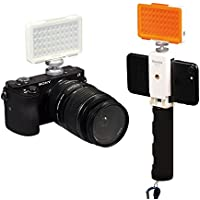 LED Video Light Commlite CM-L50II Dimmable 50 LED Ultra High Power Panel video light Portable Multi-functional Mini for Micro Camera Sony Camera and smartphone (White)