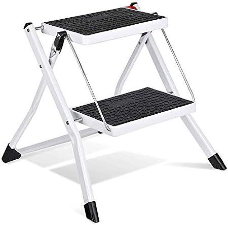 HOUSE DAY Escalera de 2 peldaños, Escalera Plegable Blanca con Mango Antideslizante Escalera de Tijera Mini Taburete en Acero Robusto y Ancho, Capacidad de Carga de hasta 115 kg, 60 cm: Amazon.es: Hogar