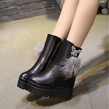 Heart&M Mujer Zapatos PU Invierno Botas de Moda Botas Tacón Cuña Dedo redondo Para Casual Fiesta y Noche Negro