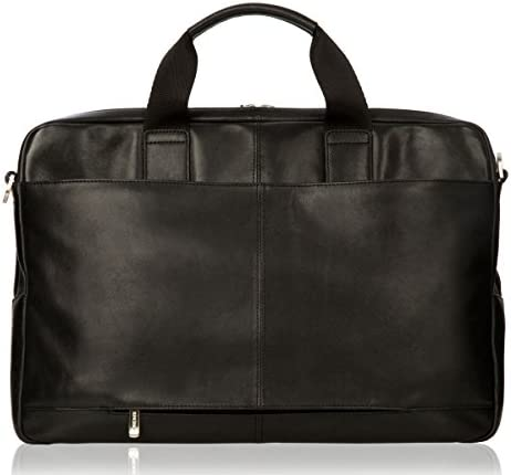 Knomo Luggage Amesbury Full Leather Double Zip Brief 15-inch, Black