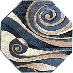 Sculpture Modern Octagon Contemporary Area Rug Blue Beige Ivory Abstract Design 258 (4 Feet X 4 Feet)