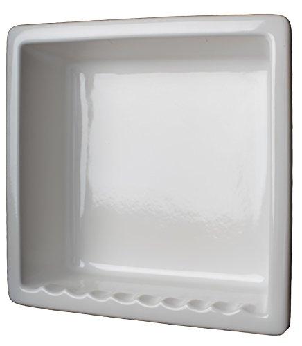 1 Compartment Tile Recessed Ceramic Shower Niche Shelf Gloss White by shower-shelf