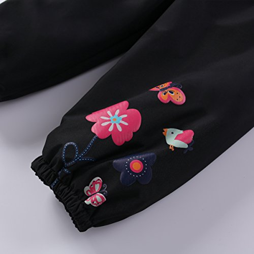 LZH Girl Baby Kid Waterproof Hooded Coat Jacket Outwear Suit Raincoat Hoodies with Pants Black 6(For Age 5-6Y)