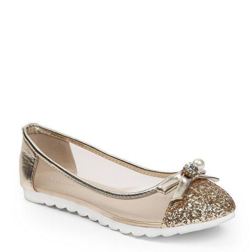 suola Ballerine effetto con Maelise in 1 Ideal Oro Oro Shoes rete gomma e parte 8HwSHx6q