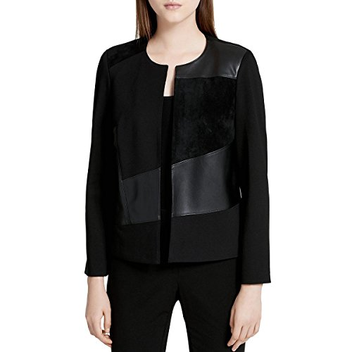 Collarless Suede Jacket - Calvin Klein Women's Short Jacket with Suede and Pu, Black, 8