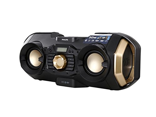 Philips Bluetooth Boombox Speaker - Rugged, Portable, Wireless Radio, USB, AUX, and CD Music Player - 50 Watt, Dynamic Bass, Digital Display, Light Up Speaker - Model PX840T
