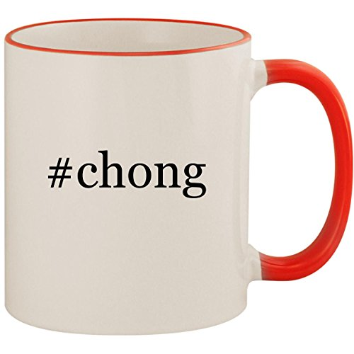 #chong - 11oz Ceramic Colored Handle & Rim Coffee Mug Cup, Red -