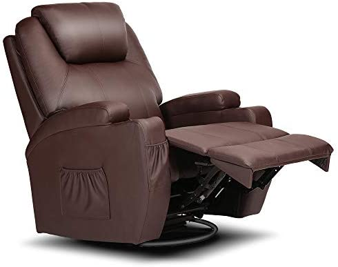 Electric Massage Chair Recliner Ergonomic Armchair Swivel Heated Leather Sofa Electric Massage Chair Adjust Head-Brown