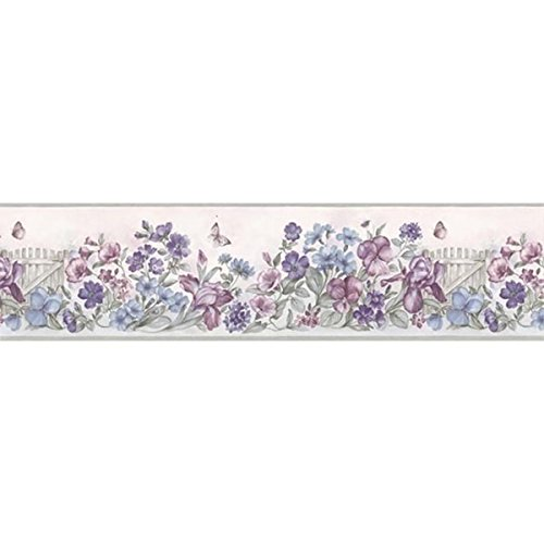 Lavender Picket Fence Wallpaper Border - Lavender Border