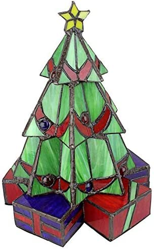 Design Toscano Christmas Tree Stained Glass Lamp Illuminated Sculpture, Small, full color