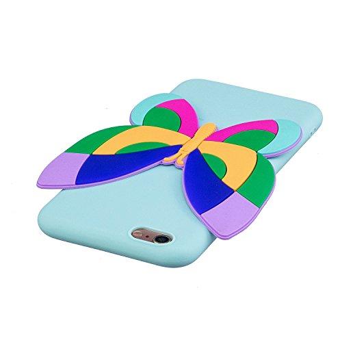 iPhone 6 6S Custodia , Moda 3D Farfalla Silicone leggero Morbido TPU Sollievo Sottile Protezione Antiurto Copertura Antiscivolo Resistente Coperture Cover Case Custodia per Apple iPhone 6 6S