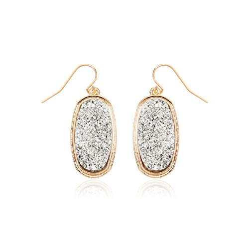 - RIAH FASHION Lightweight Acrylic Stone Druzy Crystal Oval Drop Earrings - Sparkly Geometric Polygon Hook Dangles Hexagon, Decagon (Oval - Silver)