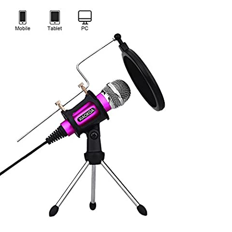 Professional Condenser Microphone, Plug &Play Home Studio for Iphone Android Recording,Podcasting,Online Chatting Such as Facebook,MSN,Skype,Desktop MIC Stand dual-layer acoustic filter (Pink)