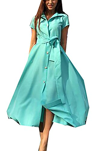 Domple Long Stylish Green Swing Split Pockets Dress Belted Womens Buttons Party BBqAwS4