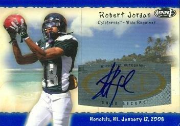 Robert Jordan Autographed Football Card (California) 2008 SAGE Aspire No.H10