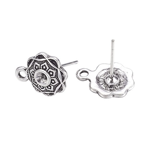 Pandahall 20pcs Antique Silver Flower Earstuds Lead Free & Cadmium Free Post Earrings Rhinestone Cabochon Inlay 13.5x10mm