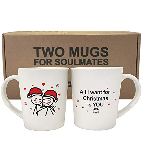 BOLDLOFT Merry Christmas Couple Mugs Set of 2|Christmas Mugs for Couples|Christmas Gifts for Him,Her,Husband,Wife,Girlfriend,Boyfriend|Girlfriend Gifts for Christmas|Couple Gifts for Christmas