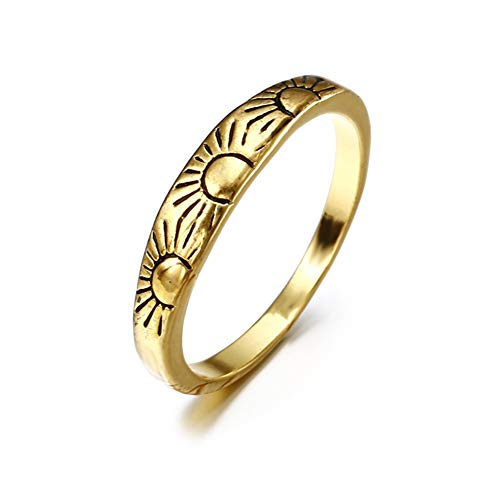 Thin Ring Stackable Carved Style (Slendima Slim Sun Carved Vintage Style Golden Tone Finger Ring Women Engagement Party Jewelry Gift Golden US 9)