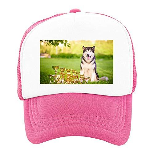 EThomasine Kids Girls Boys Mesh Cap Trucker Hats Alaskan Malamute Adjustable Hat Pink by EThomasine