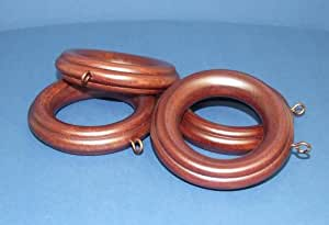 2 inch Solid Wood Pole Rings for Window Drapes, Mahogany Finish [CAPITOL CITY LUMBER]