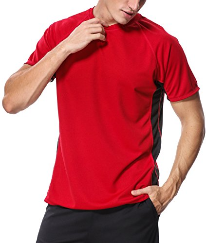 V FOR CITY Mens Swim Shirts Loose Fit Adult Rash Guard UV Tee Shirts Swimsuit Top Red 2XL (Shirts Tee Swim Adult)