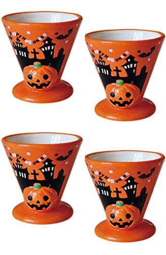 (Mathew O 2pcs Ceramics Halloween Pumpkin Relief Mousse Souffle Pudding Dessert)