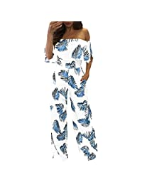 Luckylin Jumpsuit for Women Casual Summer, Sexy Off Shoulder Boho Print Pockets Jumpsuits