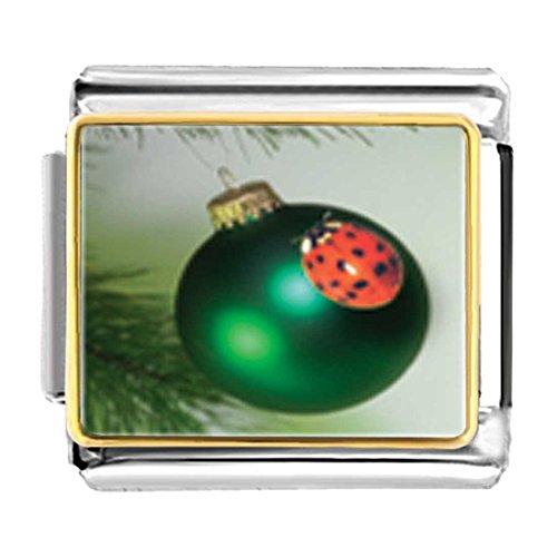 GiftJewelryShop Gold Plated Ladybug Ornament Bracelet Link Photo Italian Charm