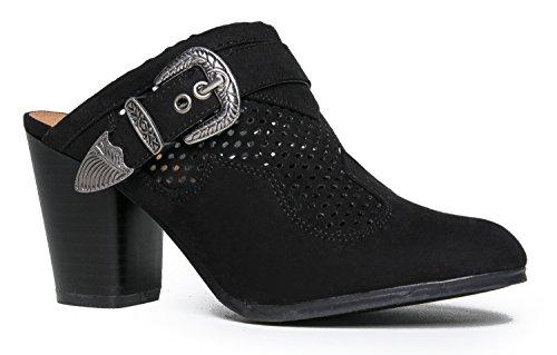 Shoe Trendy ZooShoo Sandal Slip High Buckle Black On Comfortable Heel Heel Suede Pu Slipper Everyday Cute Mule 1wFwO