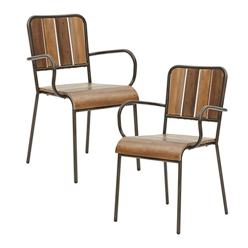 Industrial Rustic Chic Set of 2 Dining Chairs with Wood Planks in Pecan Finish on Metal Frame - Includes Modhaus Living Pen (Arm Chairs) - Pecan Living Room Set