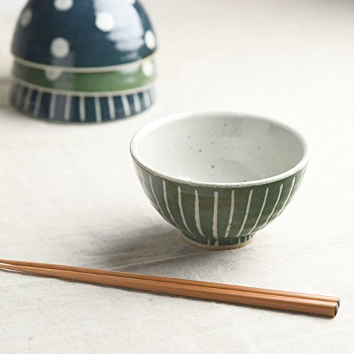 Yamani Pottery Mino Yaki Handmade Round type Japanese Rice Bowl Green Line Pattern from Japan by Yamani Pottery