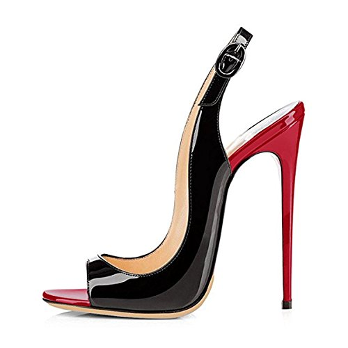 Women Peep Toe Stiletto High Heels Slingback Sandals Dres...