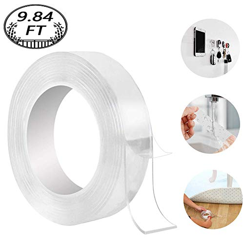 Washable Adhesive Tape, Hompie 9.84FT Traceless Reusable Clear Double Sided Anti-Slip Nano Gel Pads,Removable Sticky Transparent Strips Grip for Glass, Metal, Kitchen Cabinets or Tile Nano Tape -3M
