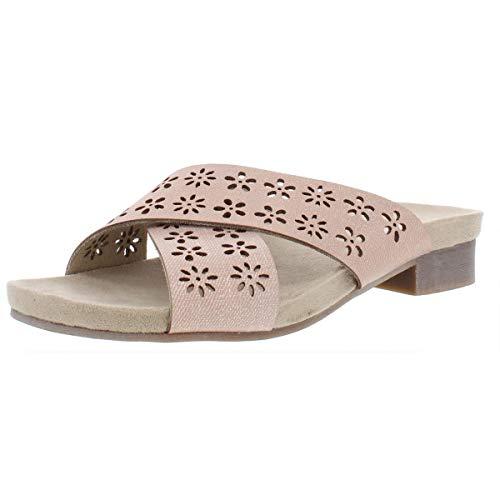 RIALTO Womens Alix Faux Leather Metallic Slide Sandals Pink 5 Medium (B,M)