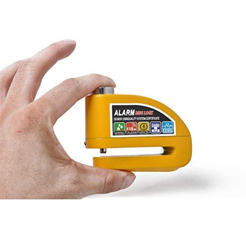Alarm Motorcycle Disc Brake Lock,Disc Brake Anti-Theft Wheel Padlock with Security Alarm Lock Supports, Warning Alert Function (Yellow)