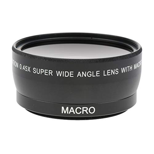Amex's 55mm 0.45x Wide Angle Lens with Macro for Canon Nikon Sony Digital Cameras. Includes 2 x Lens Hood and Protector Bag