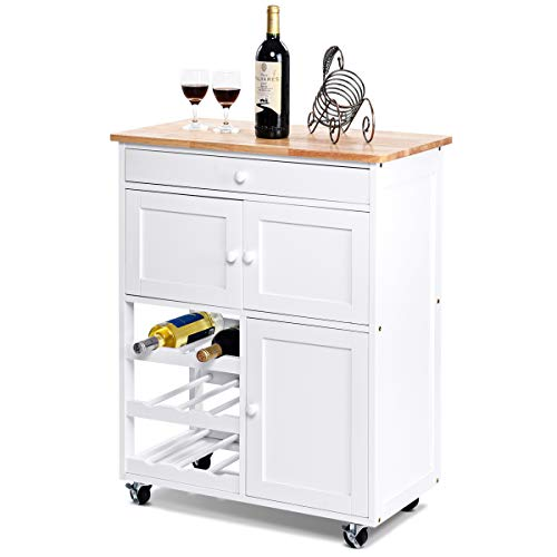 (Giantex Modern Rolling Kitchen Trolley Cart w/Drawer & Wine Rack Storage Cabinet Home Restaurant Island Serving Cart w/Wheels (White))