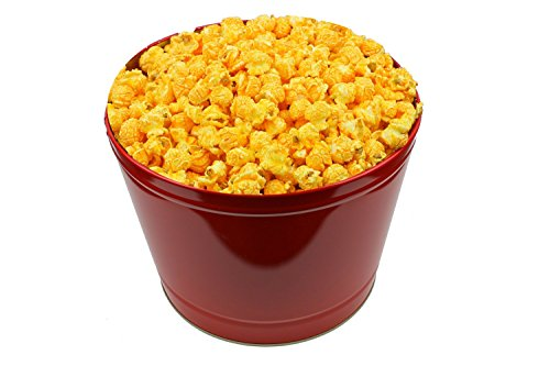 1 Gallon Popcorn Tin - Signature Popcorn, 1-Gallon Solid Red Reusable Metal Tin - Cheddar Cheese