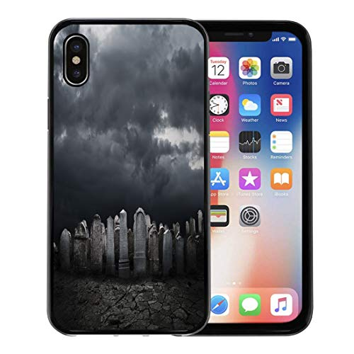 Semtomn Phone Case for Apple iPhone Xs case,Cemetery Graveyard at Night Halloween Grave Zombie Death Tombstone for iPhone X Case,Rubber Border Protective -