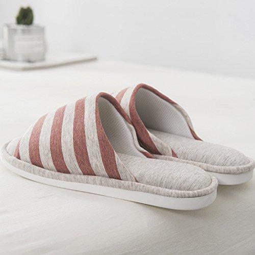 Donna E Red Casa 38 Pantofole Cotone Hong Indossare Gli brown Estiva Per Jia La Da Uomo In 43 Rivestimento Antiscivolo Bagno Amanti 7fpnqYx