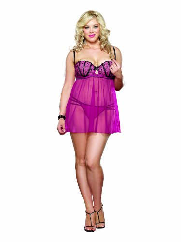 Dreamgirl Women's Plus-Size Sensual Seduction Babydoll and G-String Set