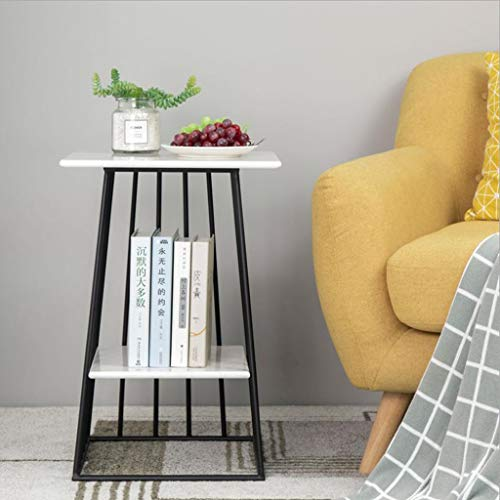 - L-Life End Tables Side Table End Table, Marble Coffee Table, Side Table of Living Room Bedroom Sofa Family Corridor (Color : Black, Size : A)