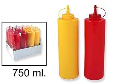 Takestop® Juego 2 Piezas Botellas 750 ml botella dosificador dispensador salsas Aceite Ketchup Mostaza Mayonesa