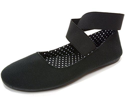 alpine swiss Peony Womens Ballet Flats Elastic Ankle Strap Shoes Black 8 M (Ankle Strap Womens Shoes)