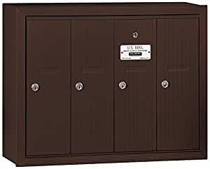 Salsbury Industries 3504ZSP Surface Mounted Vertical Mailbox with Master Commercial Lock, Private Access and 4 Doors, Bronze